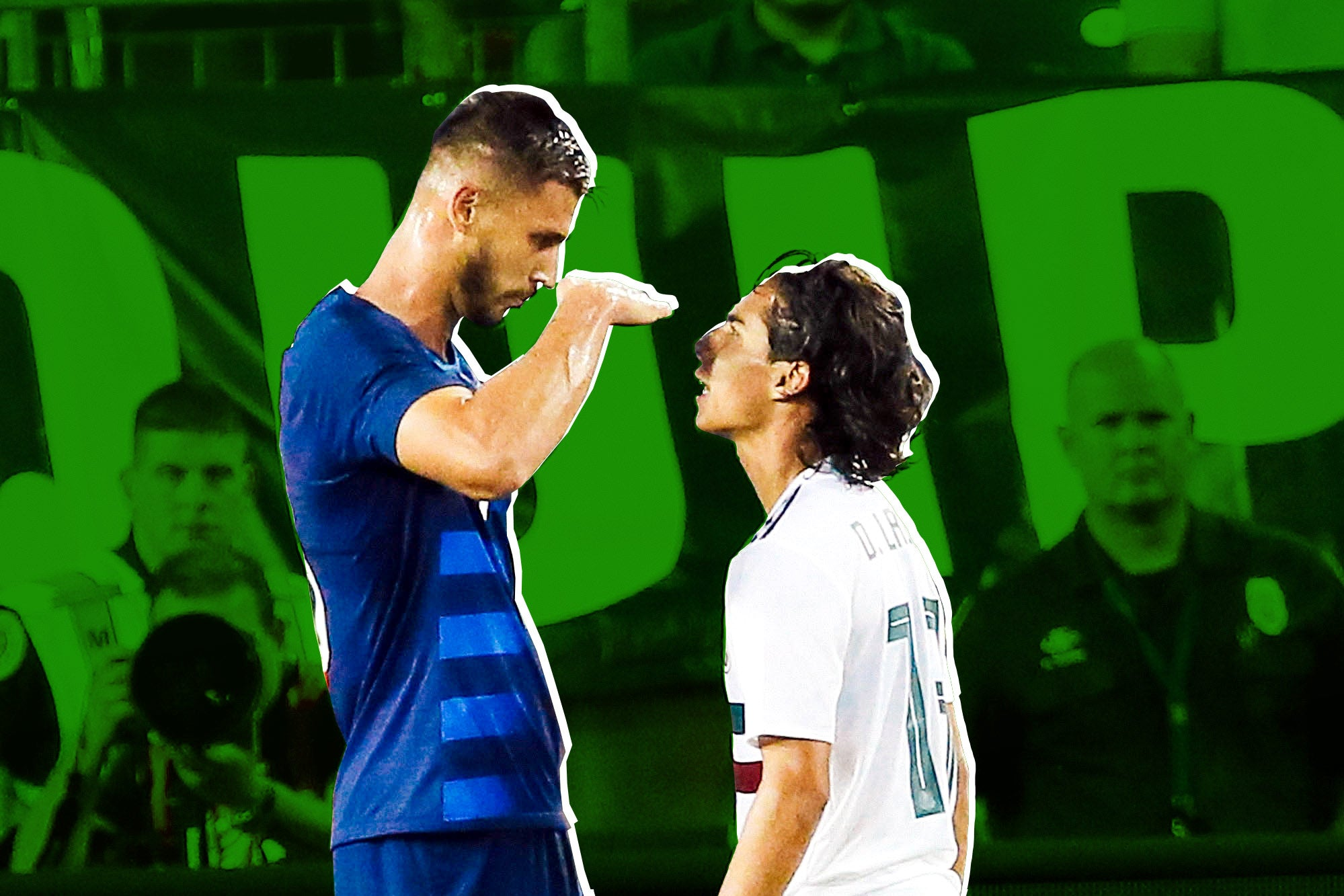 Matt Miazga holds his hand up to measure Diego Lainez in a taunt.